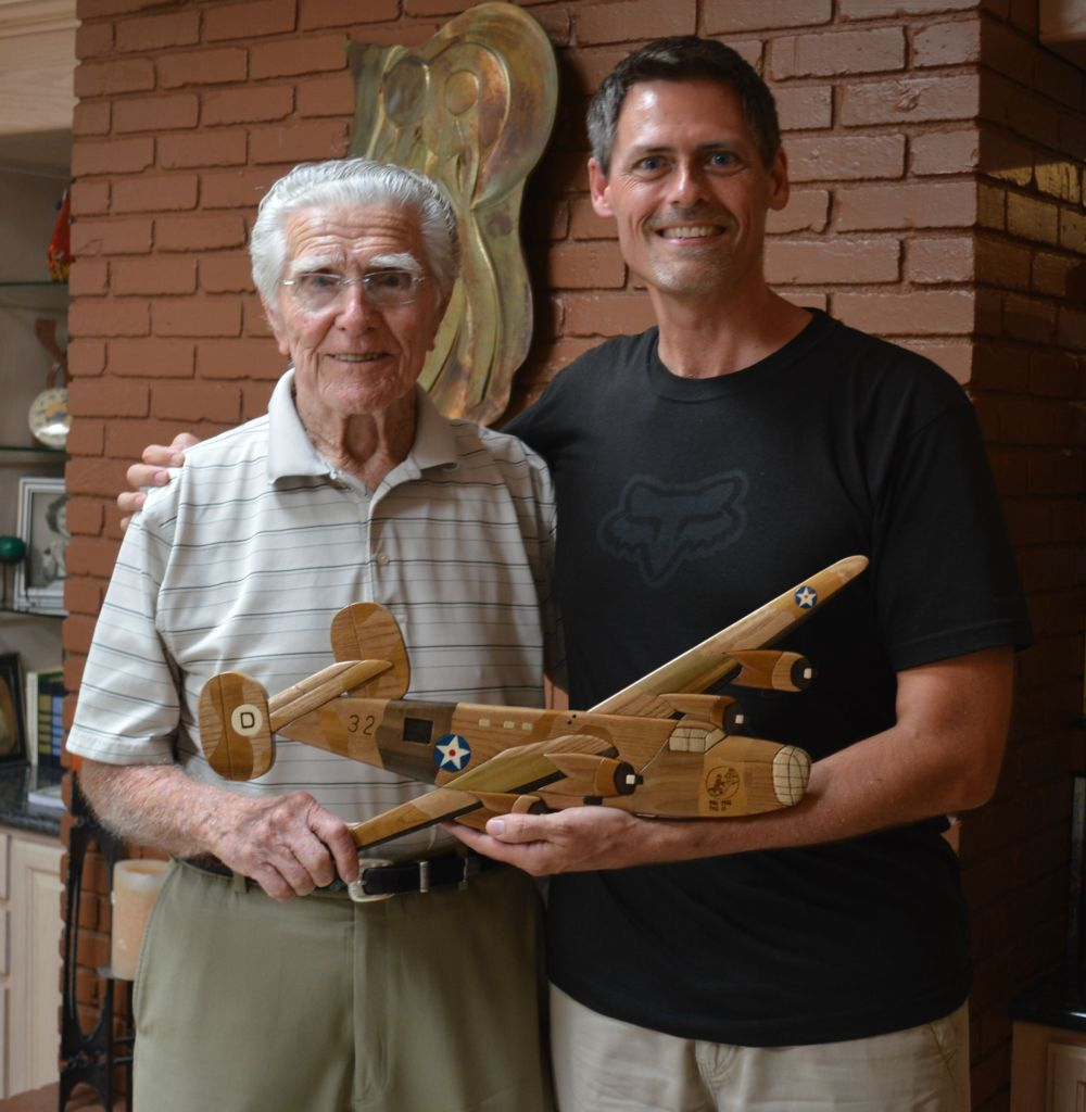Charles Pedrotta & Brent Spencer with B-24 art piece
