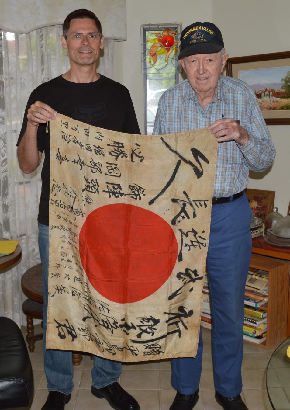 James Shriver & Brent Spencer with Captured Japanese Flag