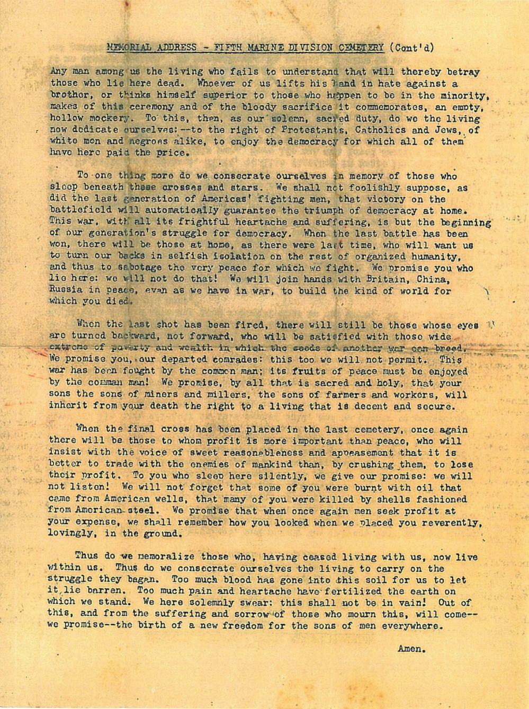 5th Marine Division Cemetery Dedication Address - 3/21/1945