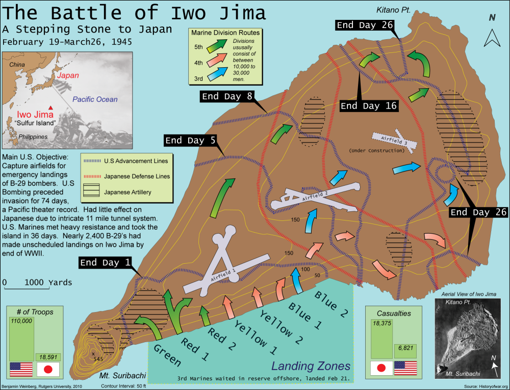 Battle of Iwo Jima Map