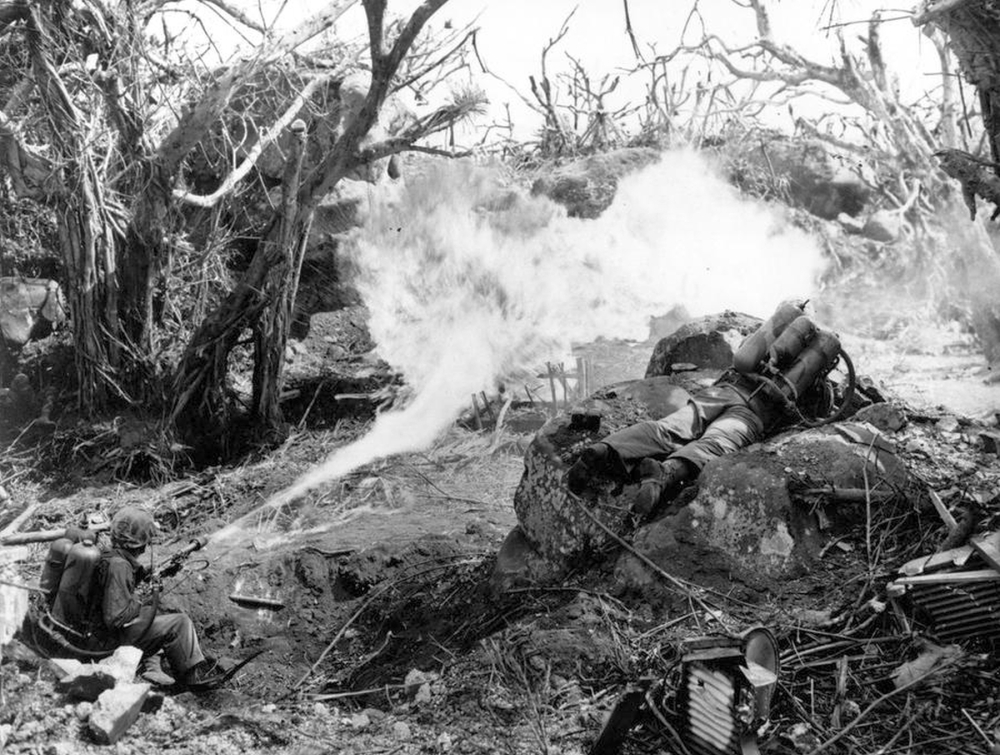 Flamethowers hitiing cave entrance: Iwo Jima, February 20th, 1945 (D+1))