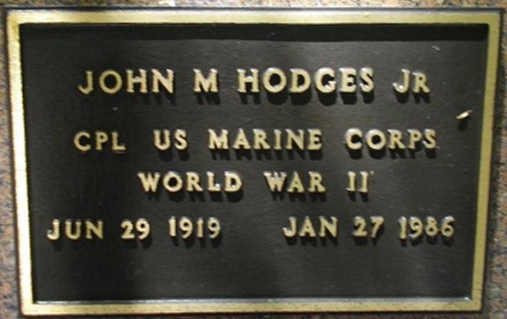 John Marion Hodges Jr. Grave Marker