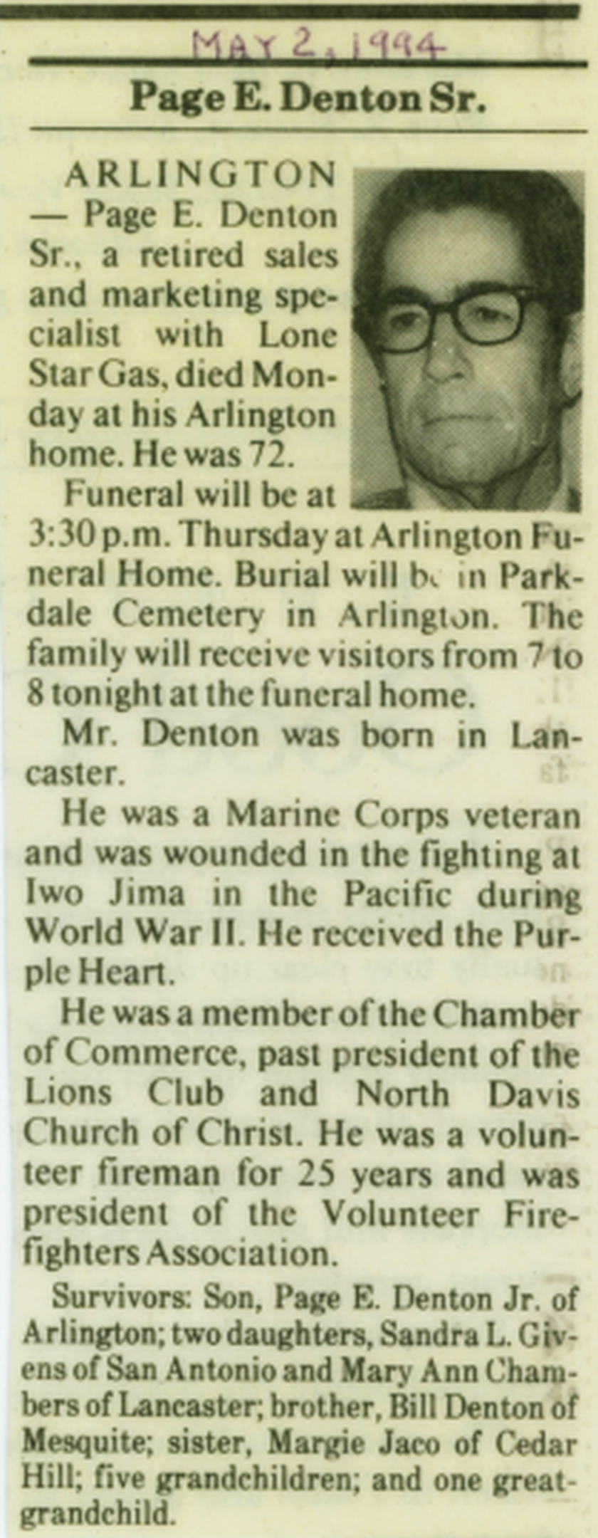 Page E Denton Obituary
