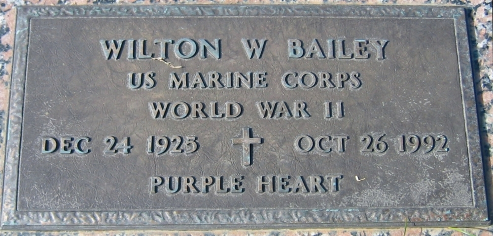 Wilton W Bailey December 24, 1925 - October 26, 1992 Grave marker