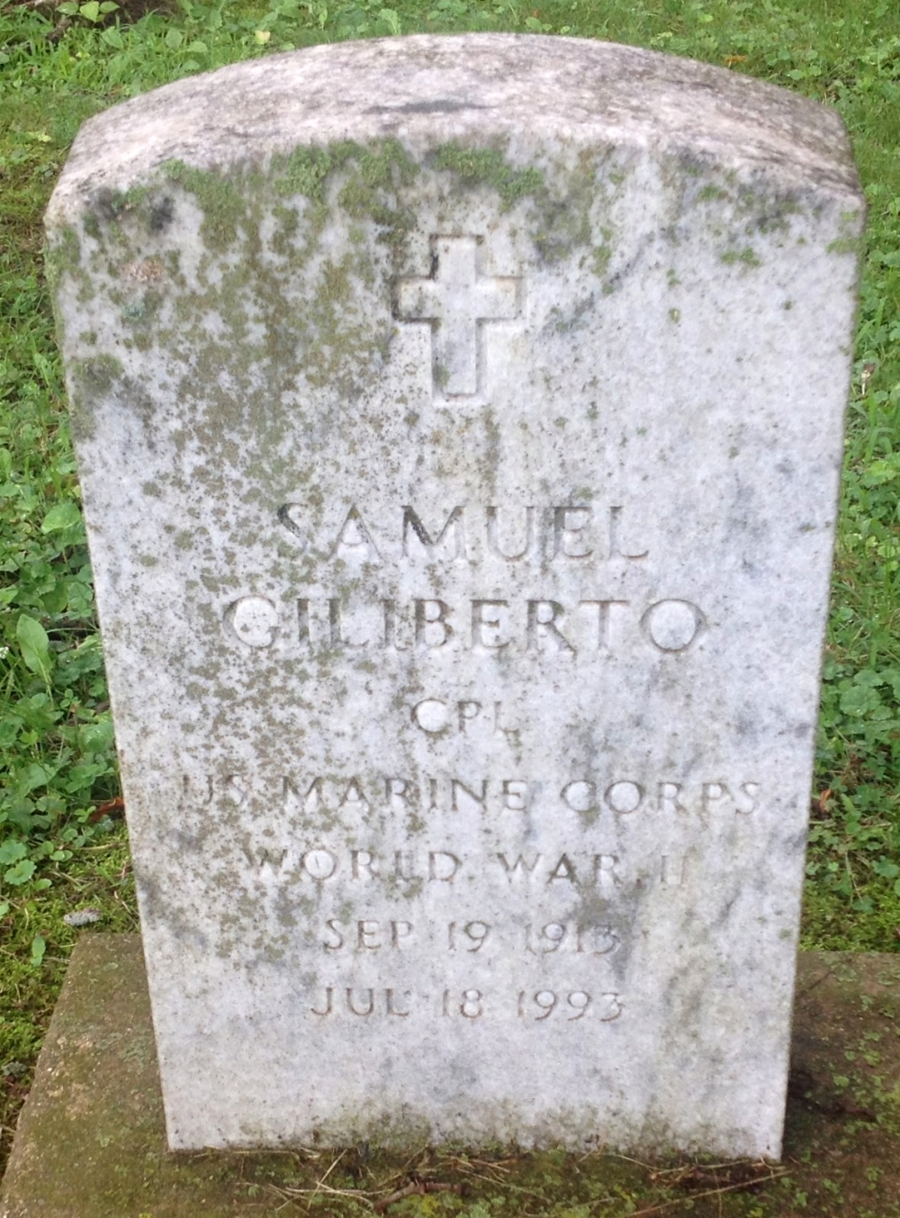 Samuel Giliberto September 19, 1913 - July 18, 1993 Grave Marker