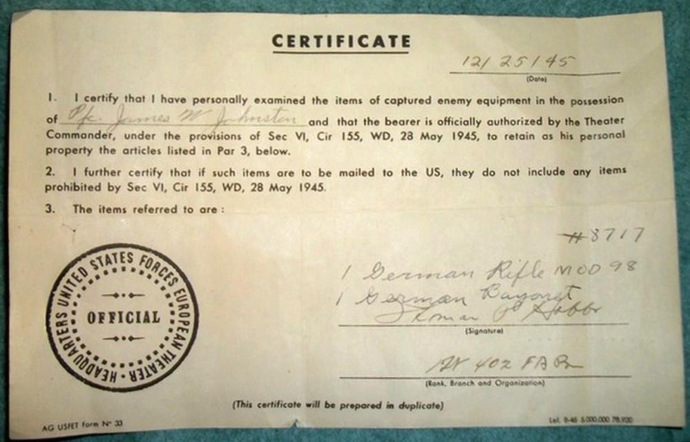 Captured Weapon Registration Certificate