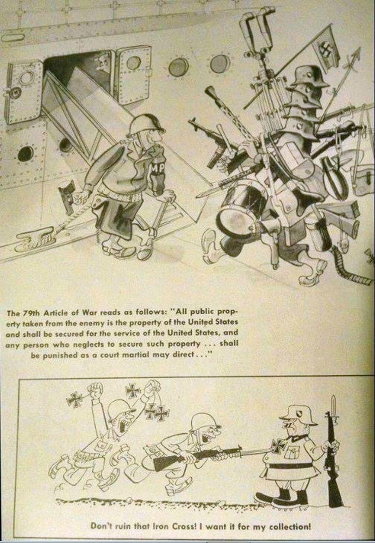 Comic strips depicting the souvenir hunting G.I.