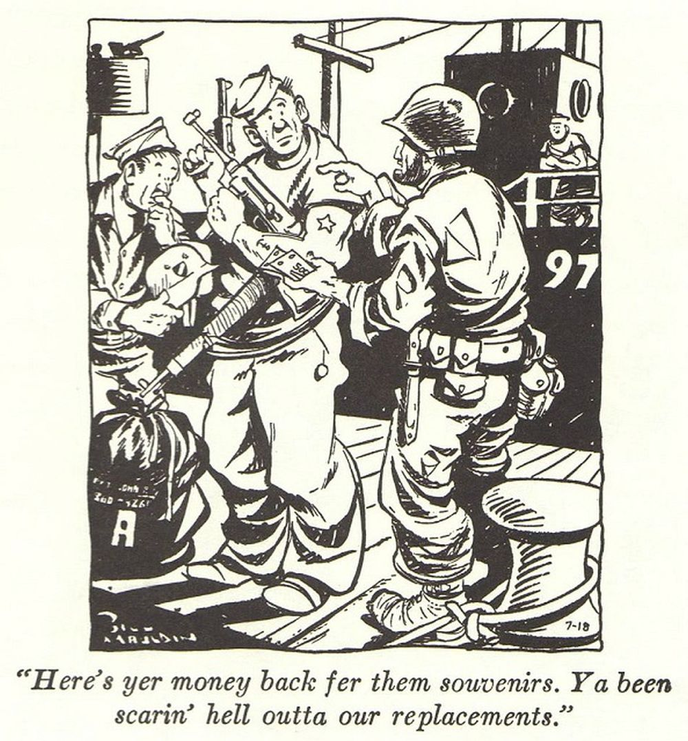Comic strips depicting the souvenir hunting G.I.