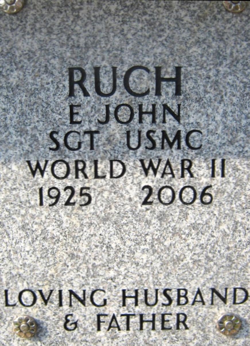 John E Ruch July 18, 1925 - November 18, 2006 Grave Marker