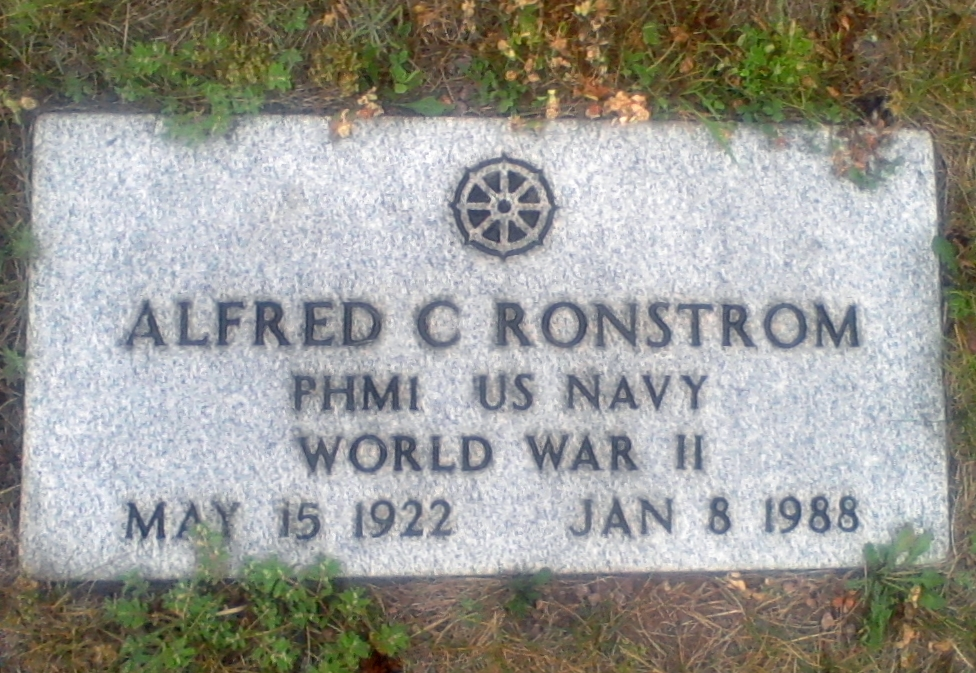 Alfred C Ronstrom May 15, 1922 - January 8, 1988 Grave Marker