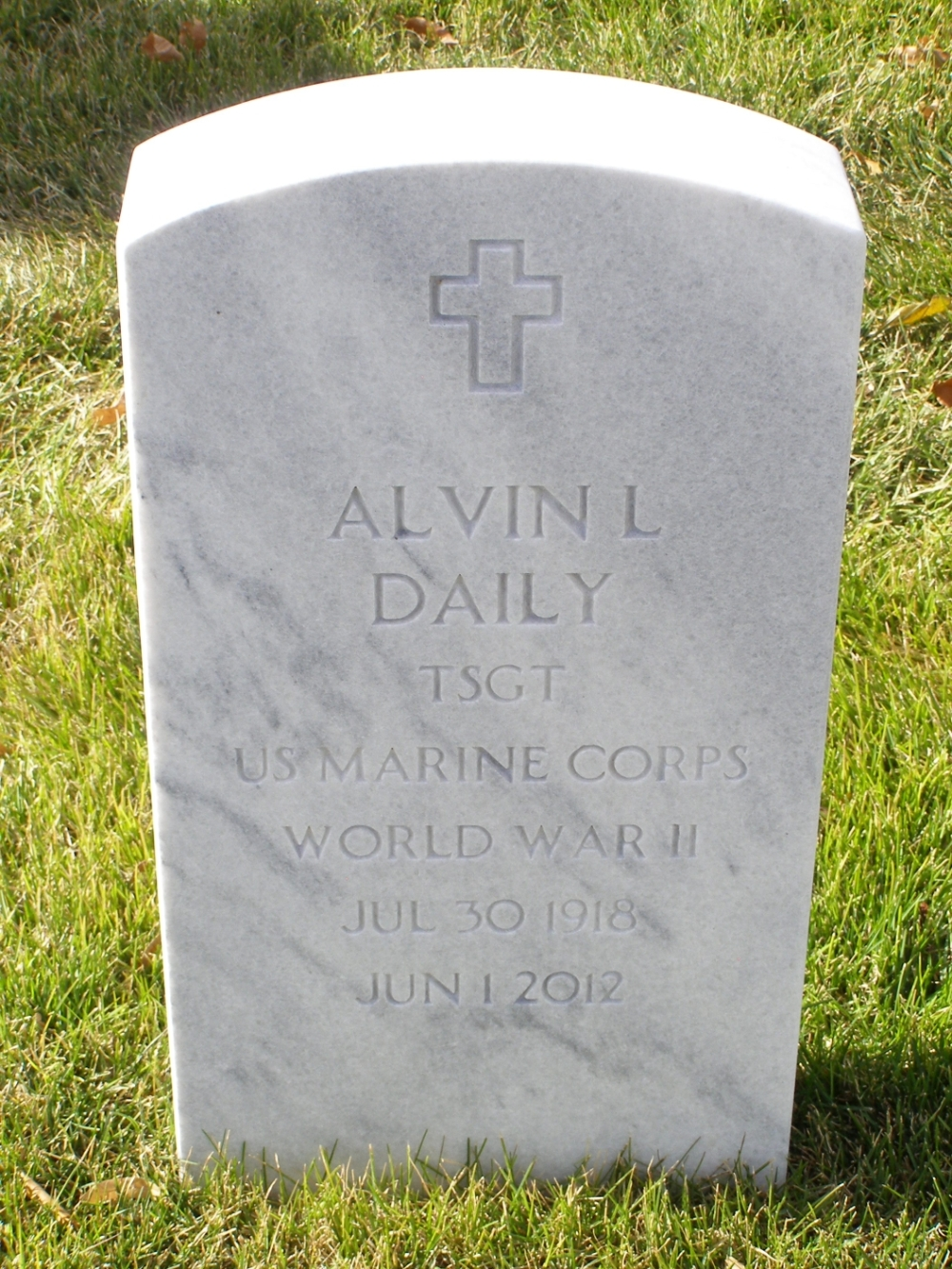 Alvin Leon Daily July 30, 1918 - June 1, 2012 Grave Marker