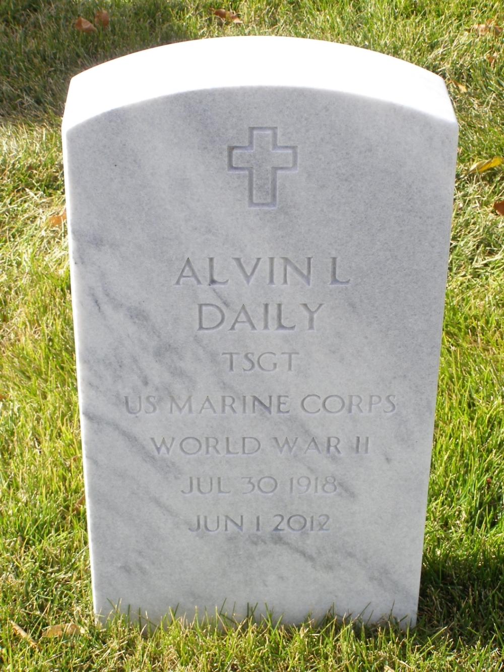 Alvin Leon Daily July 30, 1918 - June 1, 2012 Grave Marker
