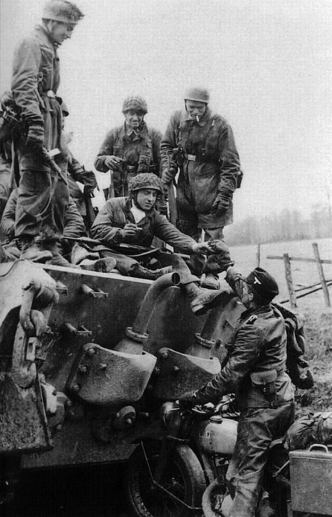 German Paratrooper and King Tiger Tank Crew Share a Smoke