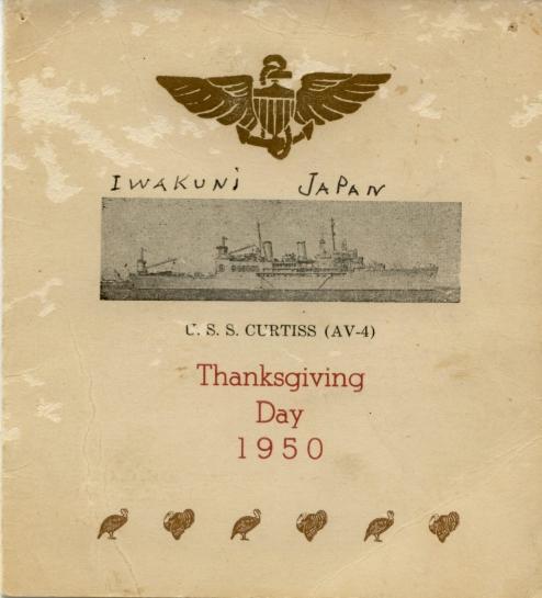USS Curtis (AV-4) - Thanksgiving 1950 Menu Cover