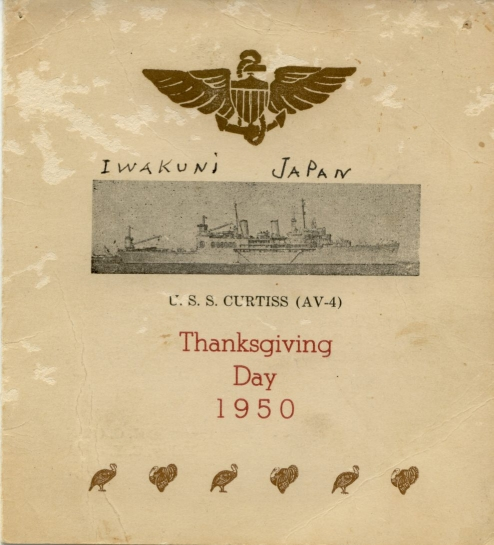 USS Curtis (AV-4) - Thanksgiving 1950 Menu Cover