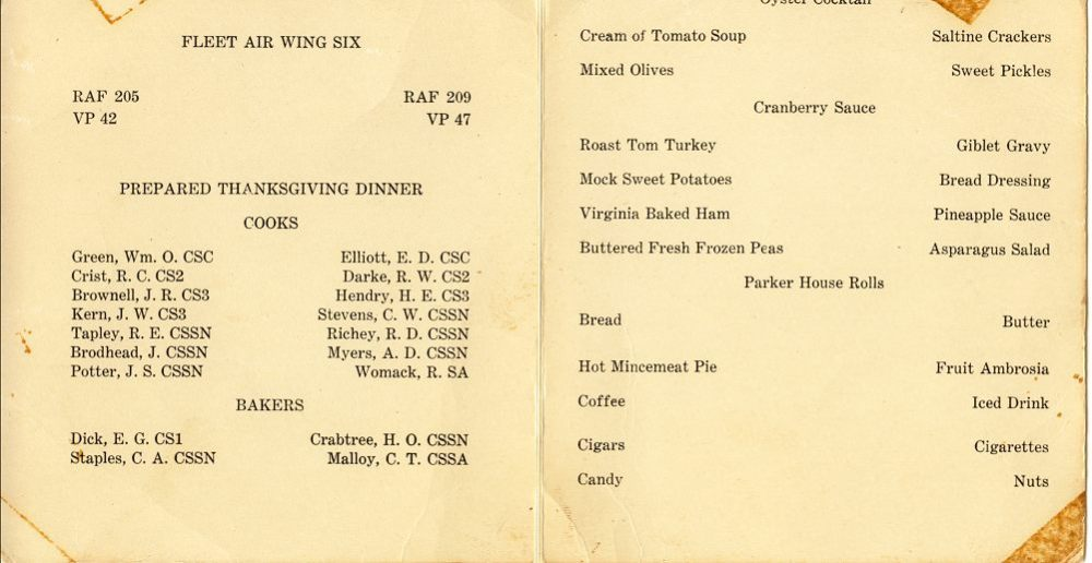 USS Curtis (AV-4) - Thanksgiving 1950 Menu