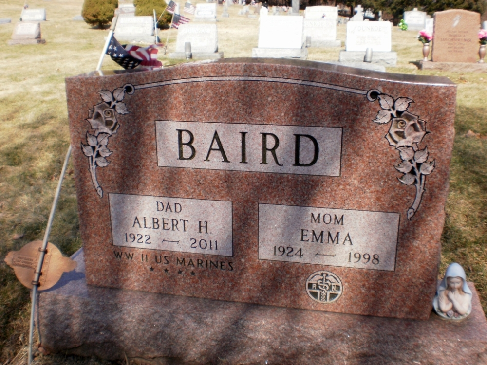 Albert H and Emma Baird Grave Marker