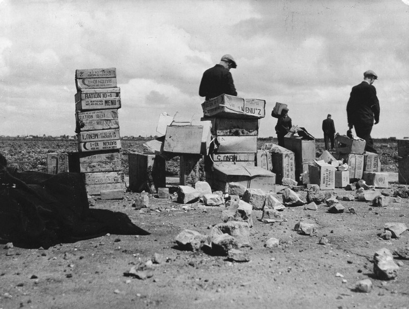 Stacks of 10-1 Rations Crates