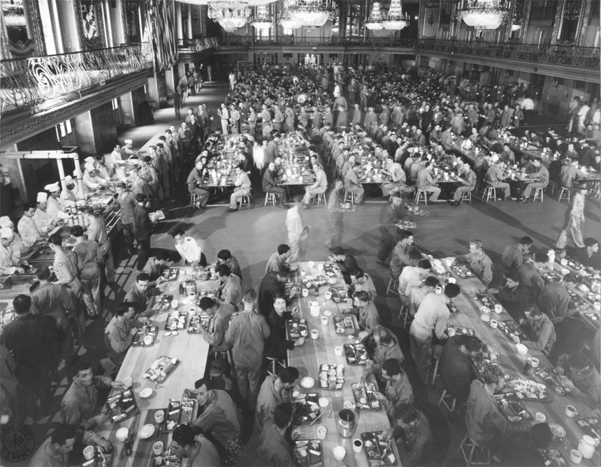 B-19 Mess Hall, Unit #1 form Grand Ballroom of the Stevens Hotel, during peak load.