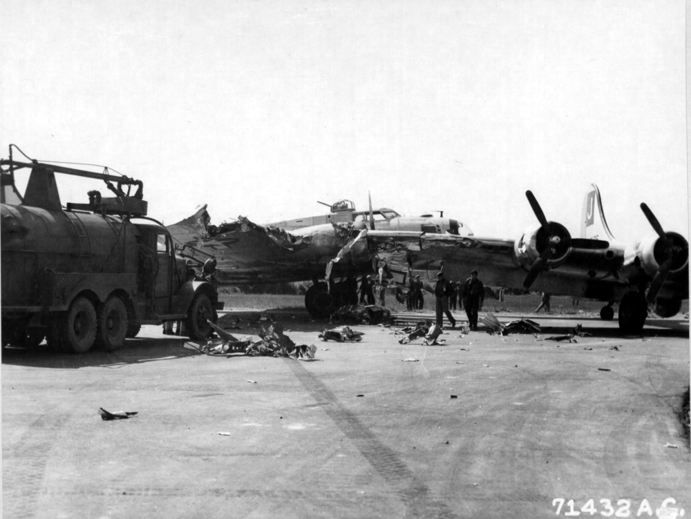 Satan's Second Sister collided with Chapel in the Sky (339124 E) on perimeter track on 17 May 1945 - Both planes were salvaged.