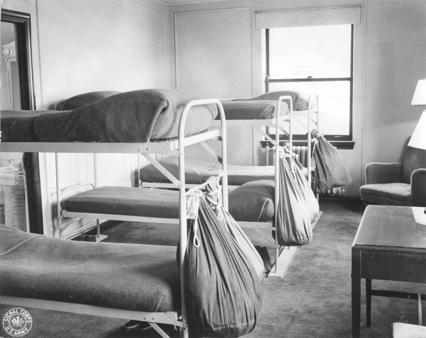Typical six-man room in Unit No. 1 after conversion by Hqs. Chicago Schools AAFTTC